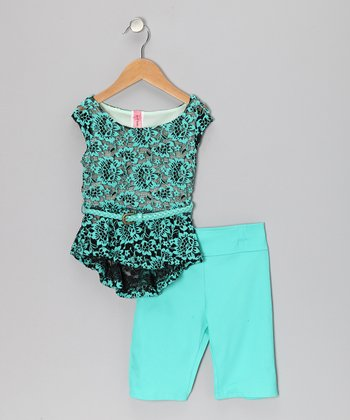 Mint Lace Tissue Top & Leggings