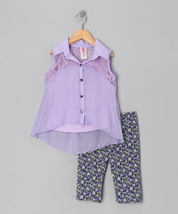 Lavender Sleeveless Button-Up Tunic & Leggings