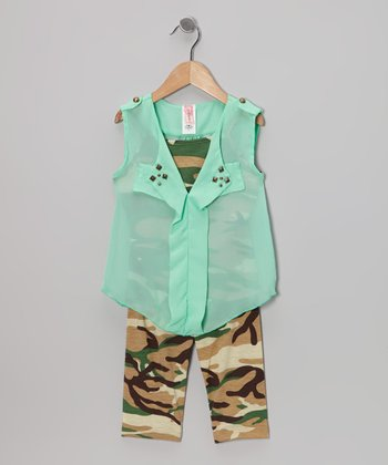 Mint & Camo Studded Sheer Top Set - Girls