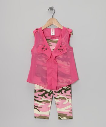 Pink & Camo Studded Sheer Top Set - Girls