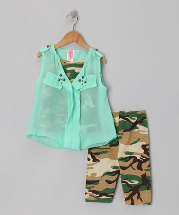 Mint & Camo Tissue Top Set