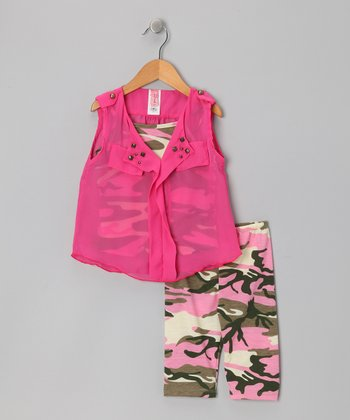 Pink & Camo Leggings Set