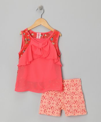 Coral & Lace Tissue Top Set