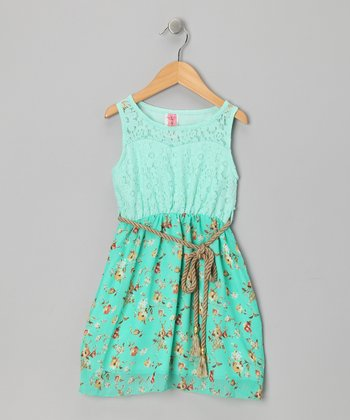 Mint Lace Flower Dress