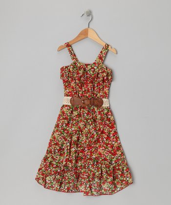 Red Chiffon Flower Dress