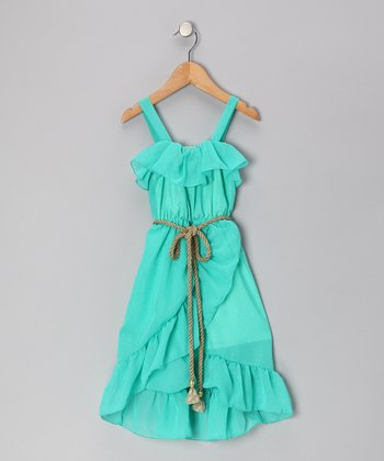 Mint Chiffon Dress - Girls