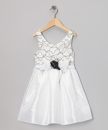 White Rosette Dress - Girls