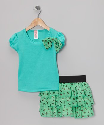 Mint Puppy Bow Top & Ruffle Skirt - Girls