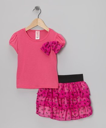 Pink Puppy Bow Top & Ruffle Skirt - Girls