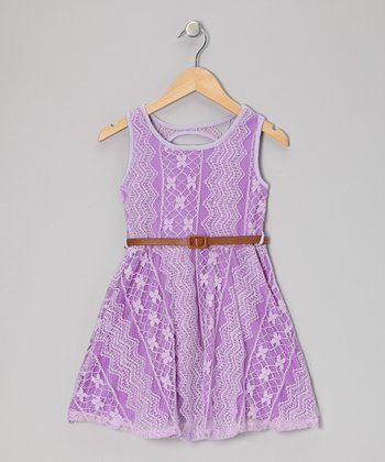 Lilac Lace Belted Dress