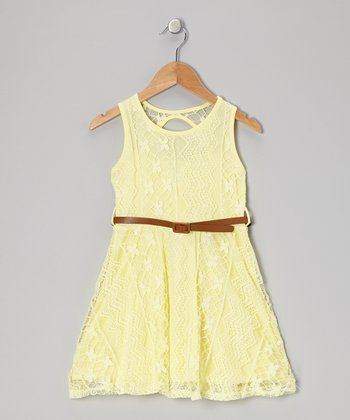 Yellow Lace Belted Dress