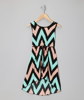 Black Pastel Zigzag Hi-Low Dress