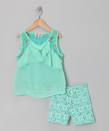 Mint & Lace Tissue Top Set