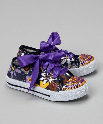 Bubblegum Diva Blue Flower Power Bling Canvas Sneaker