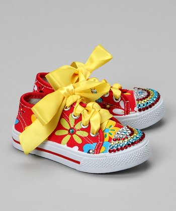 Red Flower Power Bling Canvas Sneaker