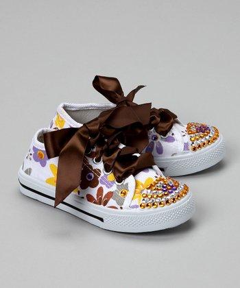 Bubblegum Diva White Flower Power Bling Canvas Sneaker
