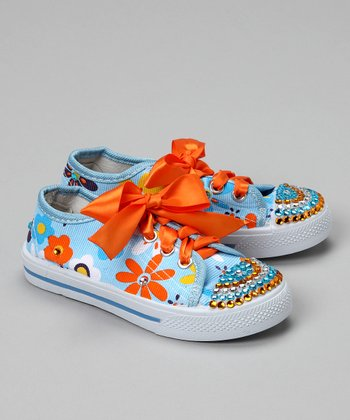 Bubblegum Diva Light Blue Flower Power Bling Canvas Sneaker