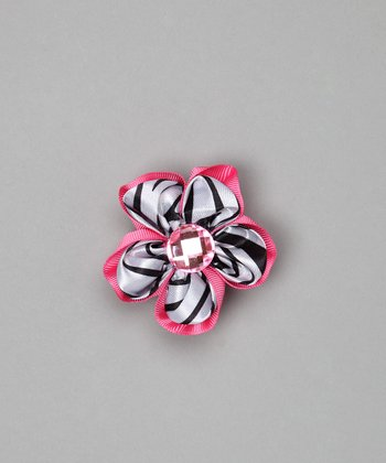 Hot Pink Zebra Flower Clip
