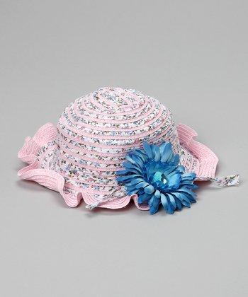 Pink & Blue Vintage Rose Sunhat