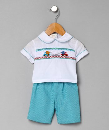 Aqua Dump Truck Top & Gingham Shorts - Infant