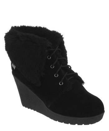 Black Suede Flatiron Wedge Boot - Women