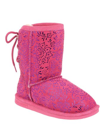 Hot Pink Ellie Youth Suede Boot - Kids