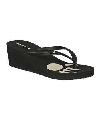 Black Lilly Wedge Flip-Flop - Women