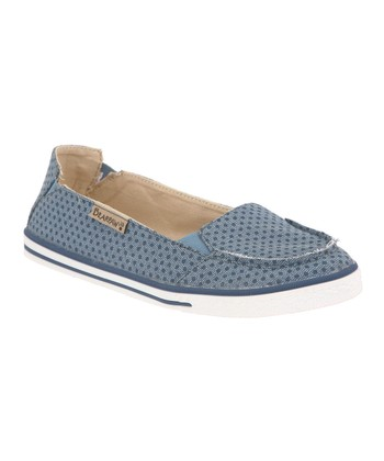Denim Blue Polka Dot Erica Slip-On Sneaker - Women