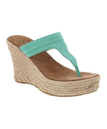 Liquid Turquoise Suede Ava Wedge Sandal - Women