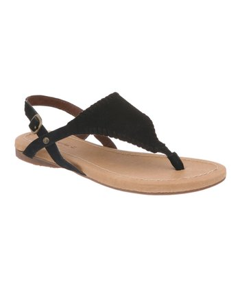 Black Suede Anne Sandal - Women
