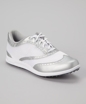 Silver & White Adicross Golf Shoe - Women