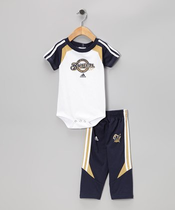 White & Navy Milwaukee Brewers Bodysuit & Pants - Infant