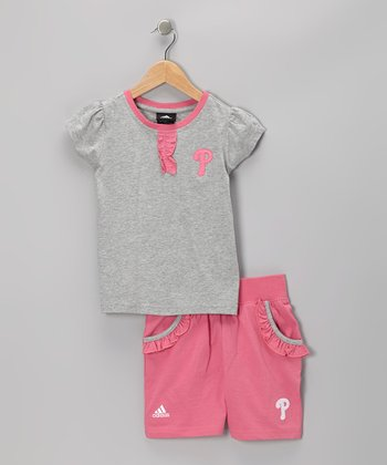 Pink Philadelphia Phillies Tee & Shorts - Kids