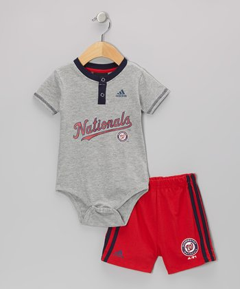 Gray Nationals Bodysuit & Shorts - Infant