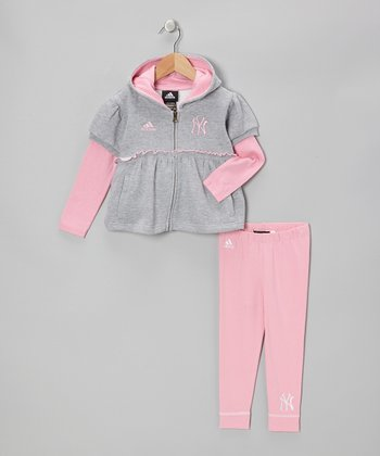 Gray Yankees Zip-Up Hoodie & Pink Leggings - Toddler