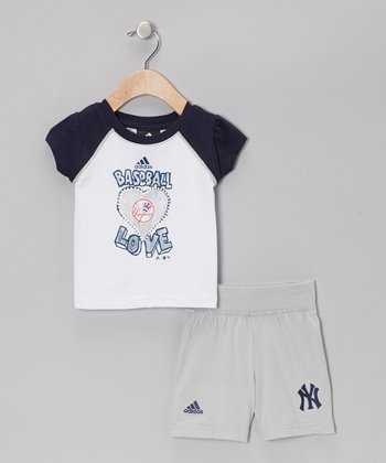 Navy Yankees Raglan Tee & Gray Shorts - Infant