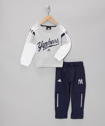 Gray 'Yankees' Layered Tee & Navy Pants - Toddler