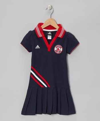 Navy Red Sox Polo Dress - Girls