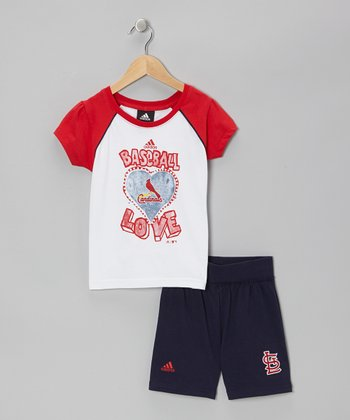 Red Cardinals Raglan Tee & Navy Shorts - Kids