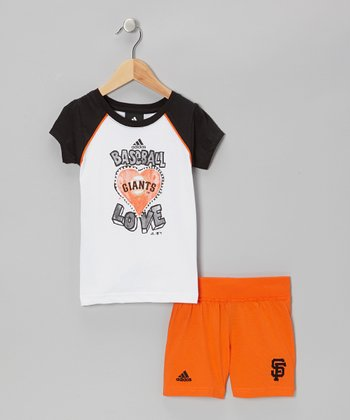 Black Giants Raglan Tee & Orange Shorts - Toddler & Kids
