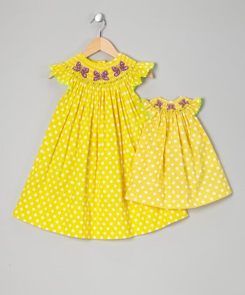 Yellow Polka Dot Smocked Dress & Doll Dress - Infant & Toddler