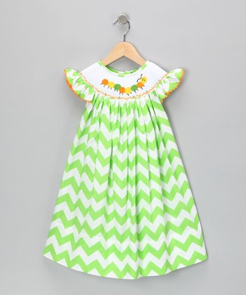 Green Zigzag Bishop Dress - Infant