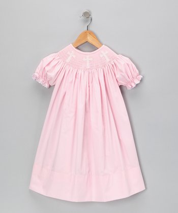 Light Pink Cross Bishop Dress - Toddler
