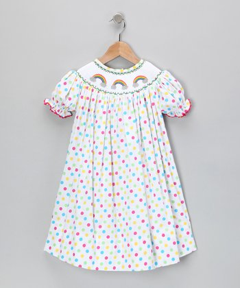 Rainbow Polka Dot Bishop Dress - Infant & Toddler