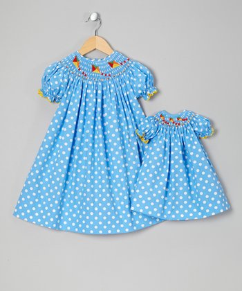 Blue Polka Dot Kites Smocked Dress & Doll Dress - Toddler & Girls