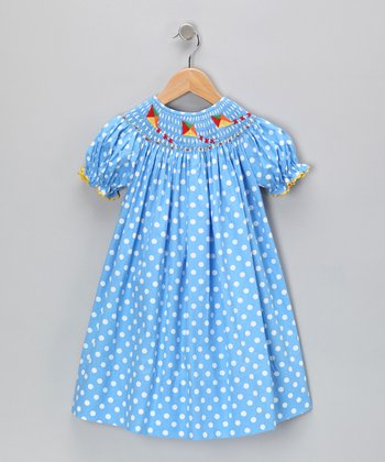Blue Polka Dot Bishop Dress - Infant & Toddler