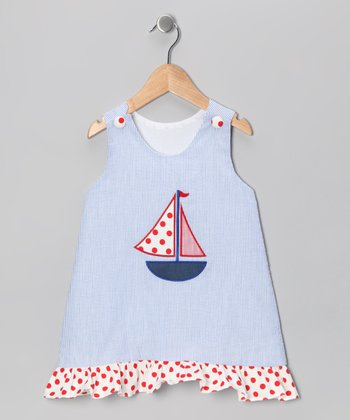 Blue & Red Stripe Sailboat Dress - Infant, Toddler & Girls