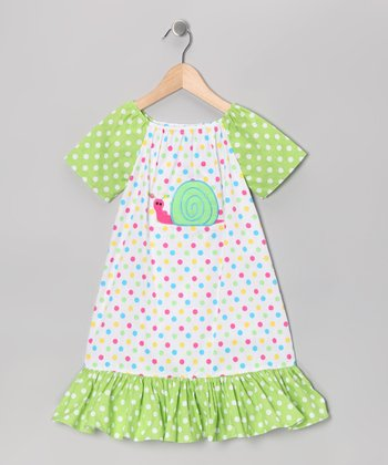 Lime Polka Dot Snail Dress - Infant, Toddler & Girls