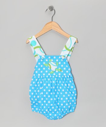 Blue Polka Dot Turtle Sunsuit - Infant & Toddler