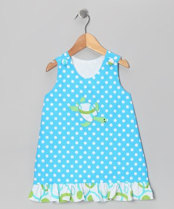 Blue Polka Dot Turtle Ruffle Jumper - Infant, Toddler & Girls